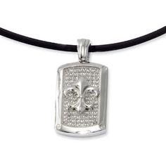 Men's Sterling Silver CZ Fleur De Lis Pendant Leather Cord Necklace Available Exclusively at Gemologica.com
