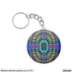 Modern abstract pattern basic round button keychain