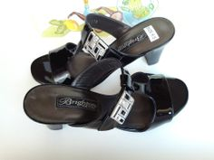 BRIGHTON ROUGE SANDALS BLACK PATENT LEATHER  MADE IN ITALY NWT SIZE 6.5  $198.00