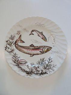 C1960 set 4 johnson bros england fish series plates 10 1 4 - Johnson brothers vajilla ...