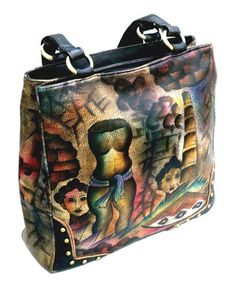 Black & Tan Hand-Painted Mayan Palace Leather Tote