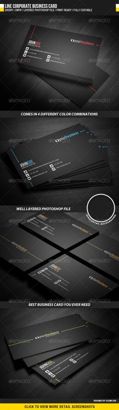 Black beautiful business card. Download Here : http://graphicriver.net/item/line-corporate-business-card/2240236?s_rank=9&ref=cliccme