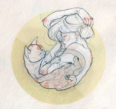 Ladies and Felines by Adara Sánchez Anguiano, via Behance