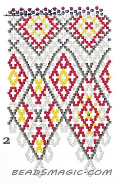 Free pattern for necklace Mexico in native style. U need : seed beads 11 Beading Patterns Free, Peyote Patterns, Beading Tutorials, Free Pattern, Beading Ideas, Bead Jewellery, Seed Bead Jewelry, Beaded Jewelry, Seed Beads