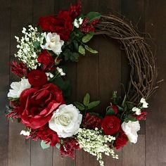 Red Summer Wreath Southern Wreath Grapevine Wreath Front