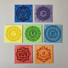 7 Chakras set wall hanging art on canvas - Frankfurter Kranz Schnitten 7 Chakras, Chakra Painting, Chakra Art, Mandala Drawing, Mandala Painting, Yoga Dekor, Canvas Frame, Canvas Art, Yoga Kunst