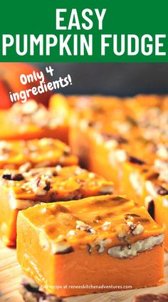Easy Pumpkin Fudge takes minutes to make with just a few simple ingredients! It's a sweet way to celebrate Halloween.