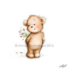 Akwarela i Ołówek rysunek misia z kwiatami.  Przedszkole Sztuki Ściennej, Ilustracji dla Dzieci, Dekoracji Dziecka.