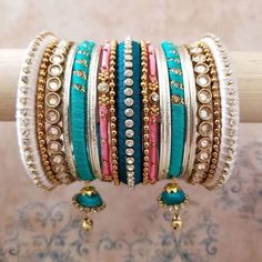 Based in Ontario, shipping worldwide. Worried about the carbon footprint of shipping? Banglez offers shipping through UPS Carbon Neutral. Silk Thread Necklace, Silk Thread Bangles, Bridal Bangles, Bridal Jewelry, Hand Jewelry, Jewelry Sets, Bangle Set, Boho Gypsy, Indian Jewelry