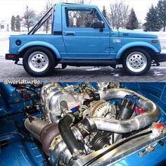 """#Repost @boosted_cars ・・・ Rotary Samurai  ___ Via: @worldturbo  ___ #Suzuki #samurai #rotary #turbo"""