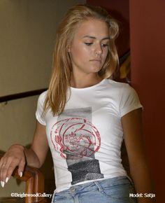 Circle Rose T-shirt, Wisdom shirt, Wear Art!, Hand printed T-shirts, art T-shirts, original woodcuts, original linocuts,  artist Miroslav Blaznik,  high quality T-shirts, wearable art, yoga shirt, yoga wear, zen, meditation