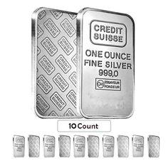 Sheet of 10 - 1 oz Credit Suisse Silver Bar .999 Fine (Secondary Market,Sealed)