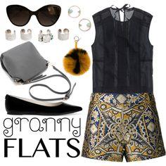 Cute Trend: Granny Flats by joslynaurora on Polyvore featuring moda, J.Crew, Alice + Olivia, MICHAEL Michael Kors, Maison Margiela, WWAKE, Chanel, Fendi, shorts and flats