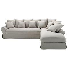 Ecksofa 6-Sitzer nicht ausziehbar, Baumwolle hellgrau Bastide