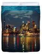 CN  Tower and Toronto Down Town Water Front beauty at night Hexagon Poster  Duvet Cover by NAVIN JOSHI