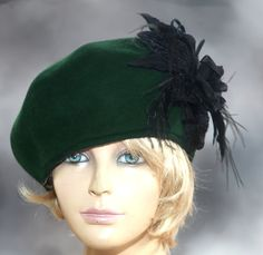 Cherie velours voelde Beret modevak hoed met zijde door LuminataCo