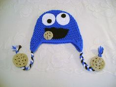 READY TO SHIP - 1 to 3 Year Size - Cookie Monster Inspired Crocheted Hat - Prop Prop