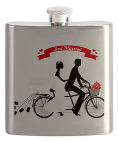 'Just Married Bride and Groom' Tandem Bicycle Flask by CafePress #zulily #zulilyfinds