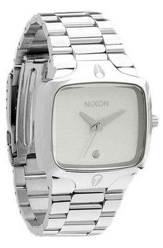 ec9f68ec3b1 Men s Player Watch Color  Silver White NIXON http   www.amazon