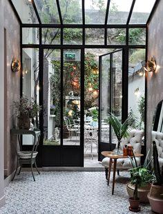 Paris Diaries : Hotel Henriette - Only Deco Love - Diy-gartenideens Orangerie Extension, Home Interior Design, Interior And Exterior, Interior Paint, Balkon Design, House Extensions, Glass House, My Dream Home, Interior Inspiration