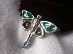 Moon moth. Enameled sterling silver pendant by MergruenDesigns