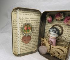 Altered Altoid Tin Assemblage Collage Amour by ferrytalesgifts
