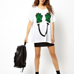 Fashion Scoop Neck Loose Painted Short Sleeve Tees