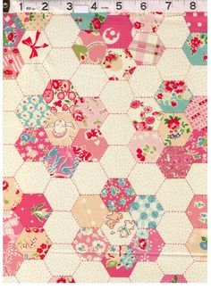 HALF YARD Yuwa Fabric - Pink Hexagon Cheater on IVORY - Atsuko Matsuyama 30s collection - Hexies, Flowers, Cherry, Plaid - Japanese Import by fabricsupply on Etsy