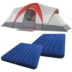 Ozark Trail Weatherbuster 9 Person Dome Tent with Two Queen Airbeds Bundle * You can get additional details at the image link.