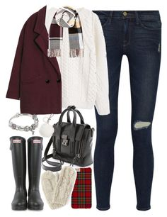 """Outfit with Wellington boots for winter"" by ferned on Polyvore featuring Frame Denim, MANGO, Hunter, 3.1 Phillip Lim, River Island, Pandora, Michael Kors, women's clothing, women's fashion and women"