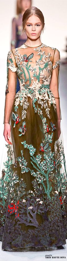 #Paris Fashion Week #Valentino Fall 2014 RTW.  I love this.  It's like wearing the best of the outdoors.