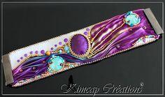 KCSH001 Manchette blanche brodée ruban Shibori violet