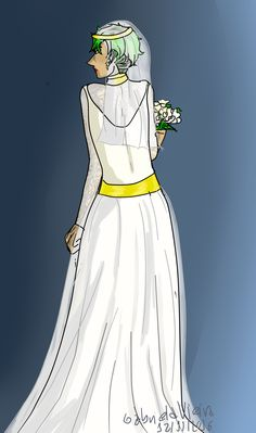 Alex in Sam's wedding dress~ I've been dying to draw this!