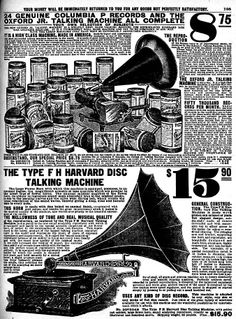 Columbia P style phonograph on top with F H Harvard machine below playing flat records. Sears Catalog, 1908.