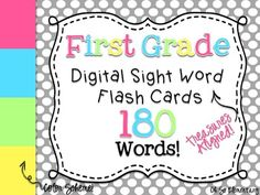 These 180 first grade sight words come from the Treasures high frequency word list. They are set to a vibrant background color scheme and can be used in so many ways that will save you time creating your own! I also included color words and number words because you always need those!