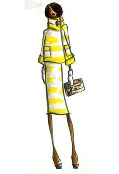 Fashion Illustration with white & yellow stripes