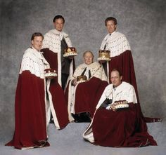 Peers of different ranks wearing their coronation robes (from left to right) The Baron Stafford, The Marquess of Reading, The Duke of Norfolk, The Earl of Shrewsbury and Waterford, The Viscount Torrington