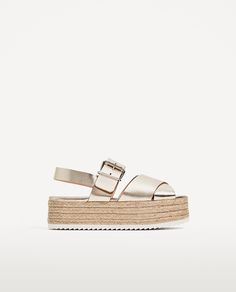 LEATHER WEDGES WITH JUTE PLATFORM