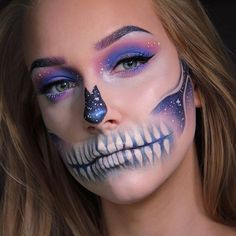 galaxy skeleton Halloween makeup! @themakeupgeek Unexpected Wisteria Pop Culture Blacklight Neptune Corrupt Whimsical