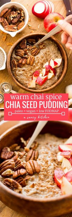 Warm and cozy Chai Chia Pudding made in about five minutes with only five ingredients! Gluten Free + Paleo + Vegan + Low FODMAP