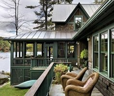 Lake Cabins, Cabins And Cottages, House Design Pictures, Haus Am See, Rustic Exterior, Exterior Design, Exterior Colors, Exterior Trim, Exterior Paint