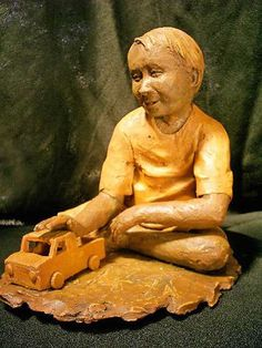 O Carrinho de Madeira, obra de João Borges Arte Popular, Buddha, Pop Art, Statue, Pinterest Decorating, Ceramic Sculptures, Wooden Cart, Templates, Mariana