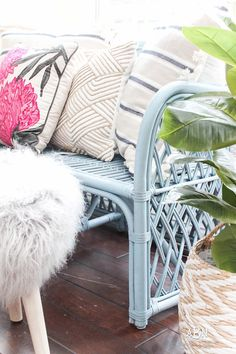 Farmhouse Decor, Interior Design, Design Tips, Home Decor, Coastal Style This is such an amazing transformation on this DIY rattan bench makeover! I love the new Devine paint colors from Target! Painting Wicker Furniture, Rattan Outdoor Furniture, Patio Furniture Cushions, Cane Furniture, Bamboo Furniture, Bamboo Sofa, Outdoor Couch, Upcycled Furniture, Painted Furniture