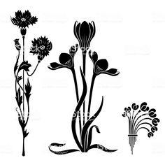 Art Nouveau style decorative elements. Black stylized flowers. Stencils. - Royalty-free Art Nouveau stock vector Art Nouveau Tattoo, Tatuagem Art Nouveau, Art Nouveau Illustration, Illustration Blume, Flores Art Nouveau, Art Nouveau Flowers, Art Nouveau Pattern, Floral Drawing, Art Reference Poses
