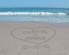 """Names in the Sand.i like this with us running into the water holding hands and """"we're taking the plunge"""" for the save the date"""