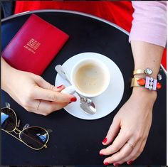 Our essentials: coffee, passport and as always - fabulous jewelry.