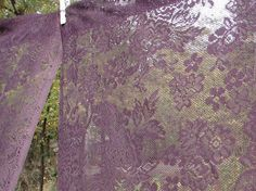 Vintage Eggplant Plum Colored Lace Curtain Panels  Boho Cottage Rustic Farmhouse Country Gypsy Chic Decor