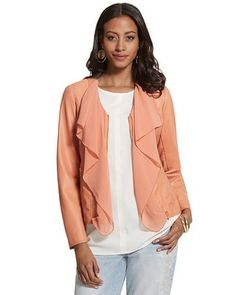 A detachable collar on this faux-leather jacket lets you switch up your style. Soften your look with the flowy chiffon collar or take it off for a fabulously structured look.