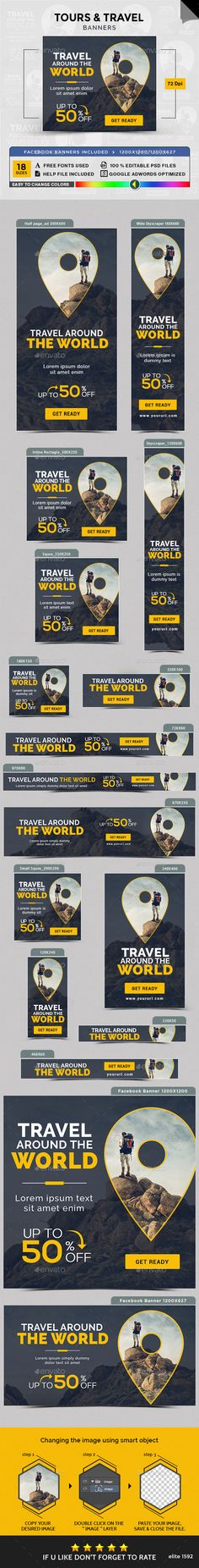 Tours & Travel Banners Template PSD. Download here: http://graphicriver.net/item/tours-travel-banners/16641988?ref=ksioks