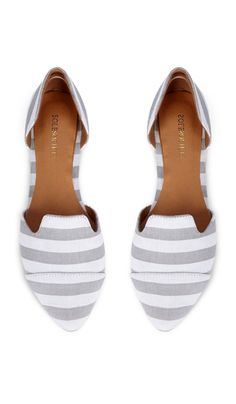 Grey striped flats find more women fashion on http://misspool.com find more mens fashion on www.misspool.com
